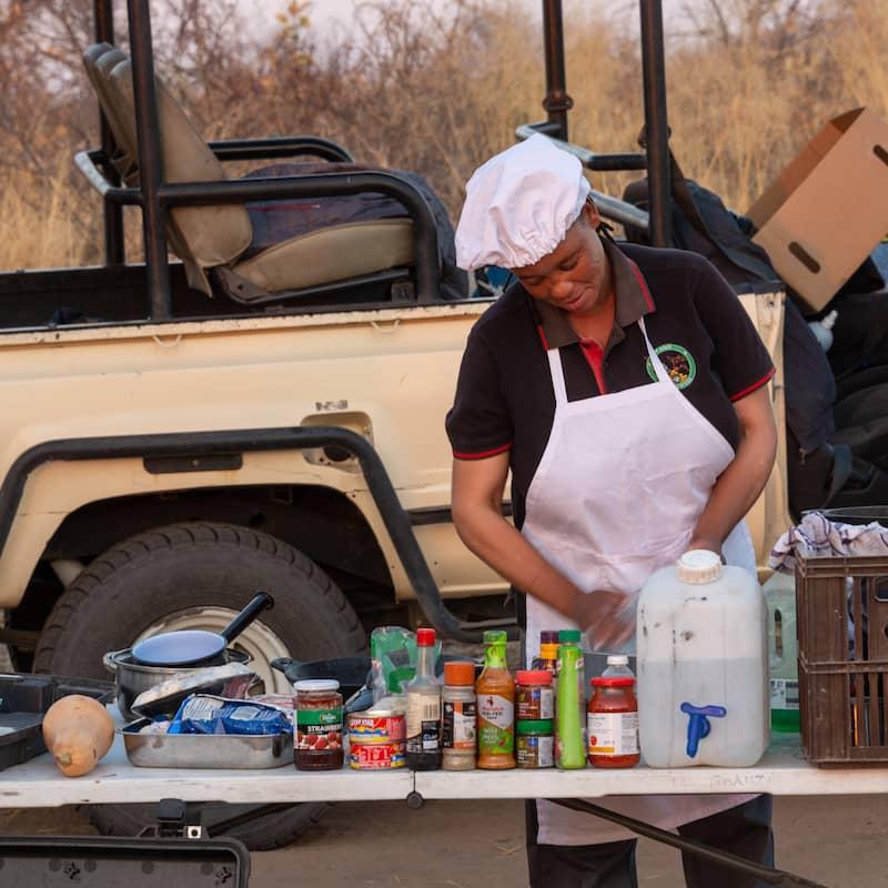 Cook preparing meal